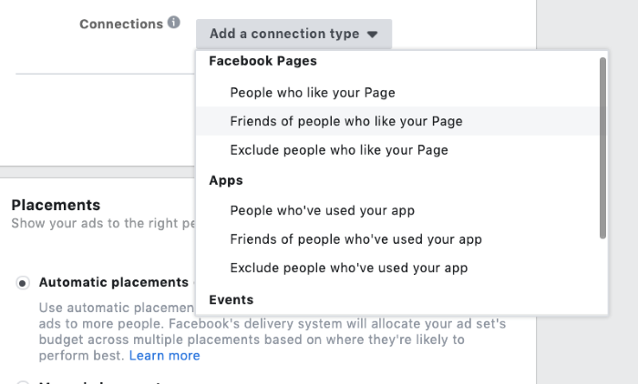 connections targeting in facebook advertising