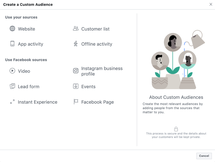 create a custom audience in facebook advertising