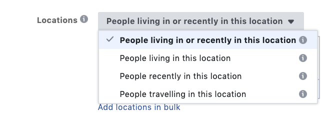 location targeting in facebook advertising