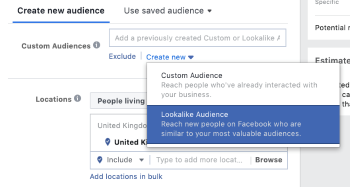 where to create a new audience in facebook advertising