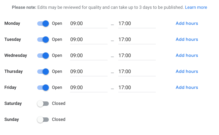 Google My Business editing opening hours