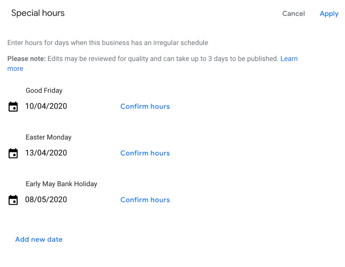 Google My Business adding special hours