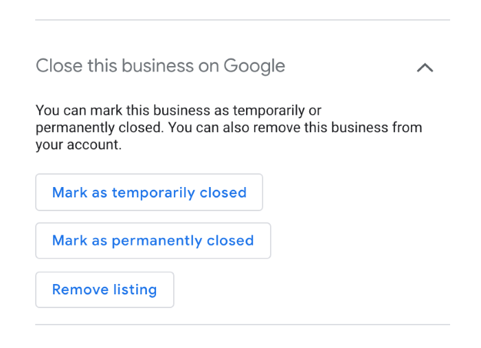 Close this business option on Google My Business