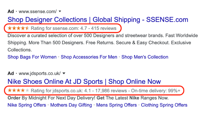 Example of how seller ratings appear in the search results