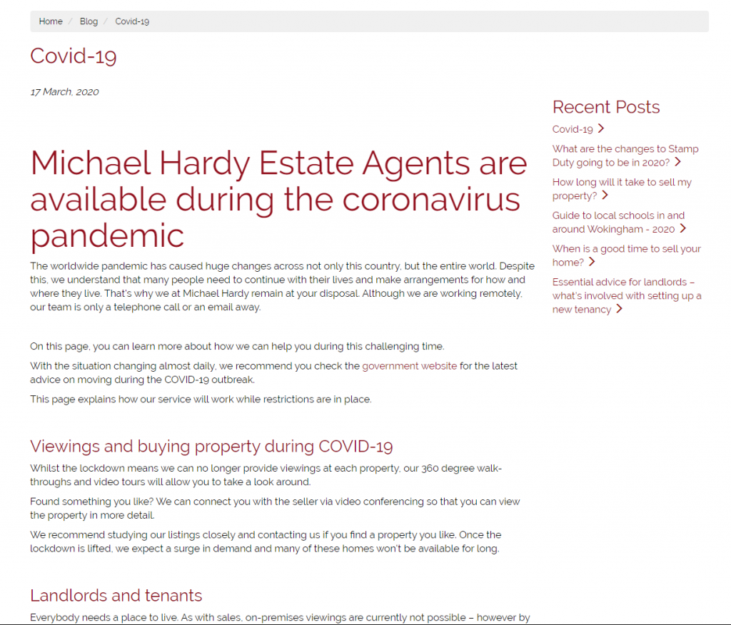 Michael Hardy response to COVID-19