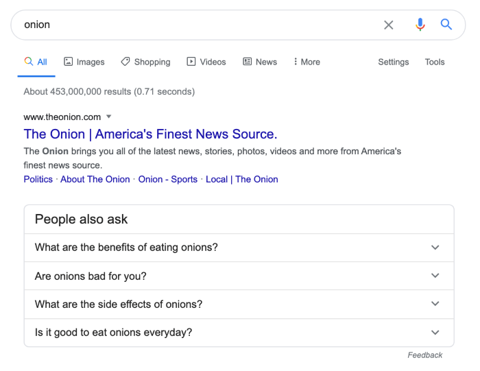 Results showing 'people also ask' in google search results