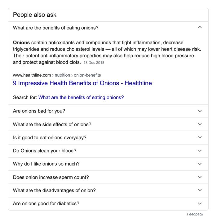 Example of the 'people also ask' section in google results