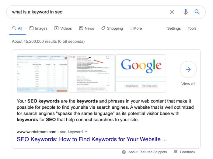 Search for 'what is a keyword in SEO' showing large result taking up a lot of space in search results