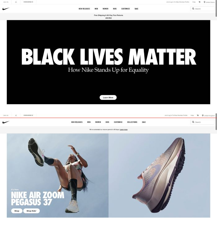 Example from Nike how their homepage in the UK differs from the US during the black lives matter campaign