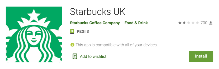 Starbucks app showing 1.8 stars out of 5
