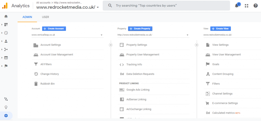 The Google Analytics admin settings screen