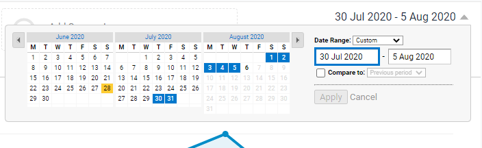 How to select a date range in Google Analytics