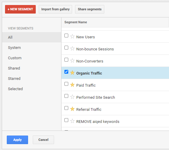 How to set an Organic Traffic segment