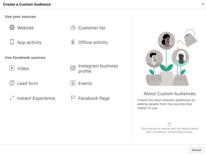 Create a custom audience in Facebook