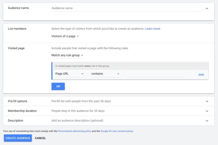 Define your audience in Google Analytics