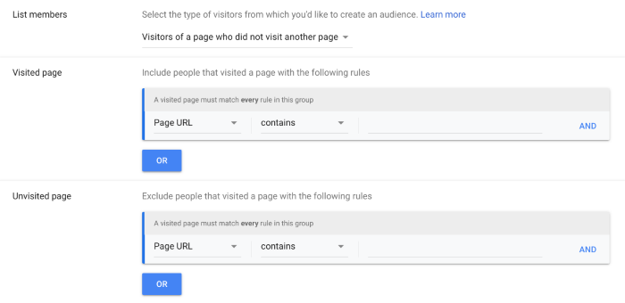 Choosing which pages visitors did or did not visit in Google Analytics