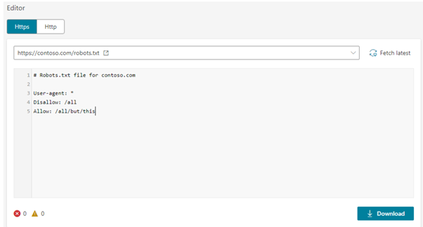 Bing robots.txt tester tool