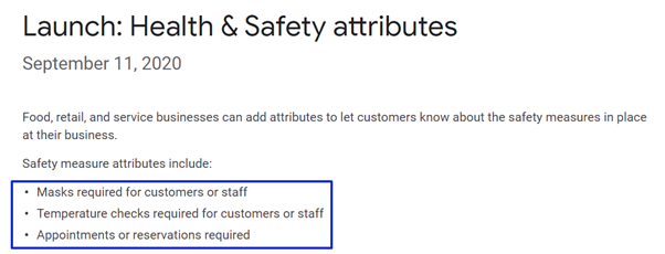 Health and safety attributes launched in Google my Business for COVID