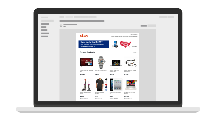 Native display ad on eBay on the homepage