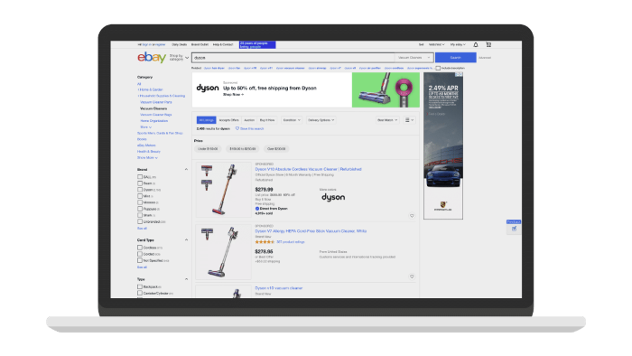 Top of search display ad on eBay