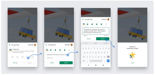 Google Play in-app review API screenshots