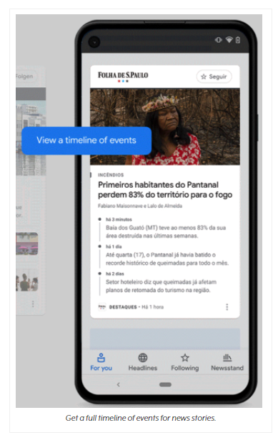 Example Google News Showcase news article