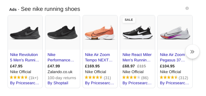 Nike running shoes displayed in Google Shopping
