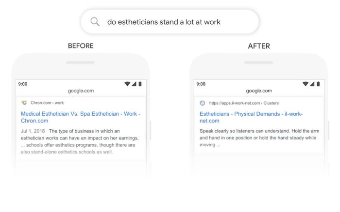 Before and after search result following the introduction of Google Bert