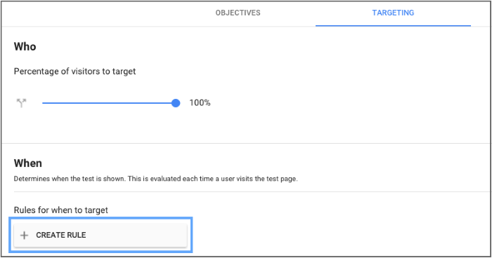 Example of how you can target visitors using Google Optimize 360