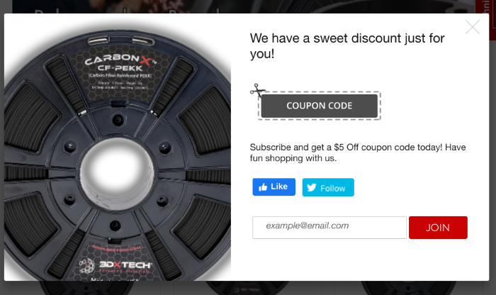 3DXTech website tempting users with a discount code if they sign up