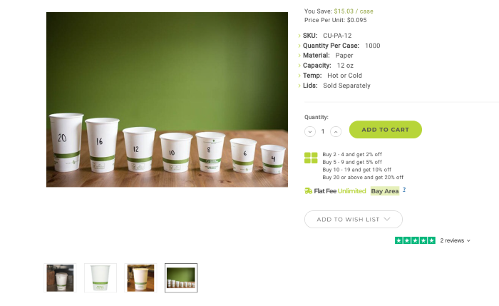 Showing a range of images on a B2B eCommerce website