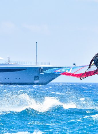 Flying Fish SEO CRO content and design case study header image showing someone doing watersports