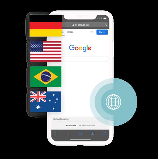 Google search with international flags denoting international PPC advertising