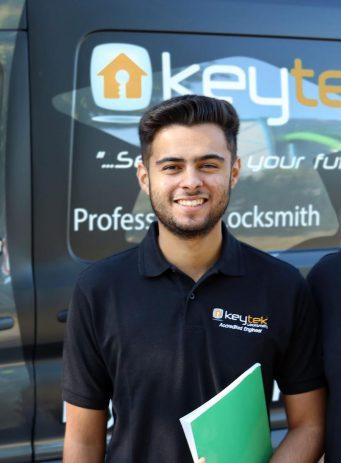Keytek PPC case study header image showing 2 Keytek employees by their van