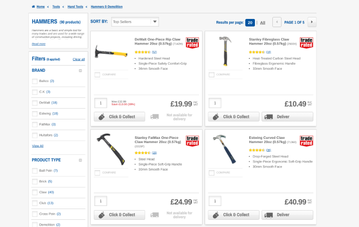 Product filters on the Screwfix site
