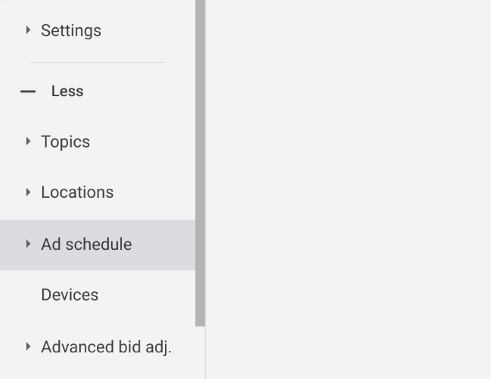 Ad scheduling set up instructions