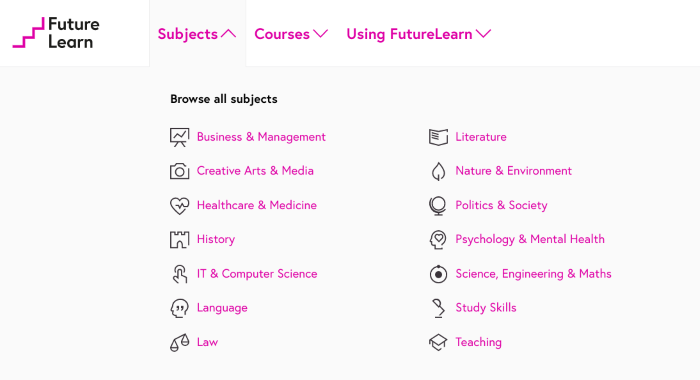 Example of course category page
