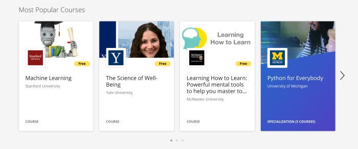 Free courses offered by Coursera