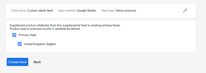 How to add a supplementary feed for custom labels in Google Shopping