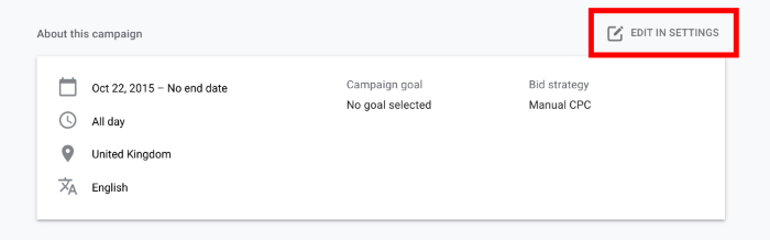 How to set up geotargeting in Google Ads - edit settings