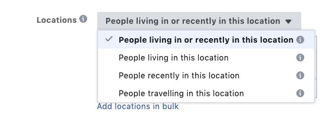 Geotargeting options in Facebook