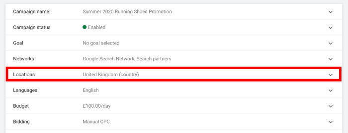 How to set up geotargeting in Google Ads - choosing locations