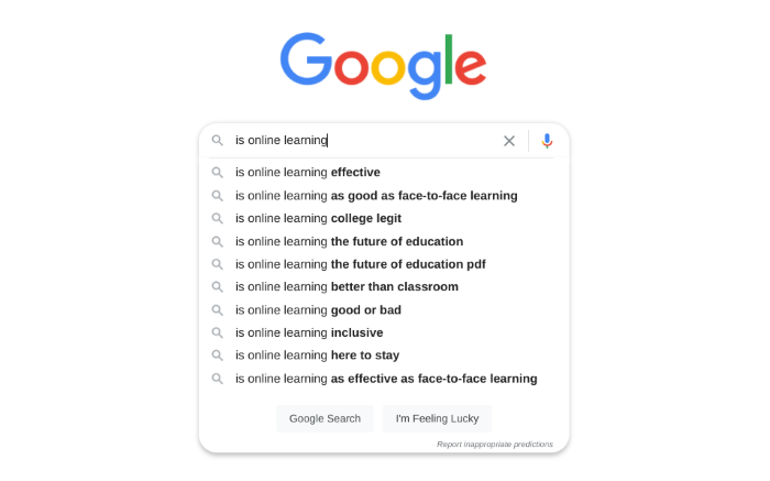 google search phrases that appear when you type in 'is online learning'