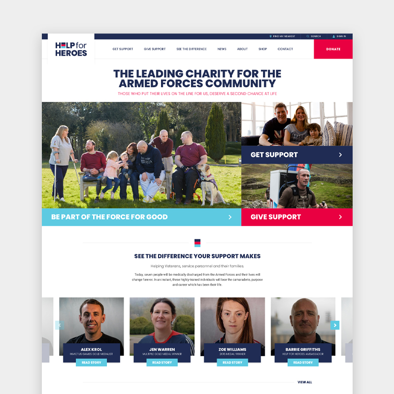 Help For Heroes SEO & PPC case study showing their website homepage