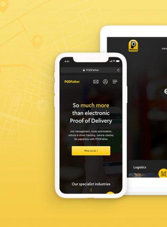PodFather website design case study header image showing their website on mobile and tablet