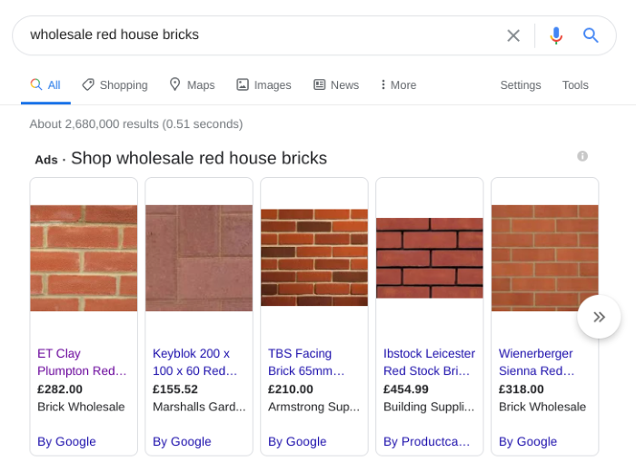 Example search engine results for red bricks