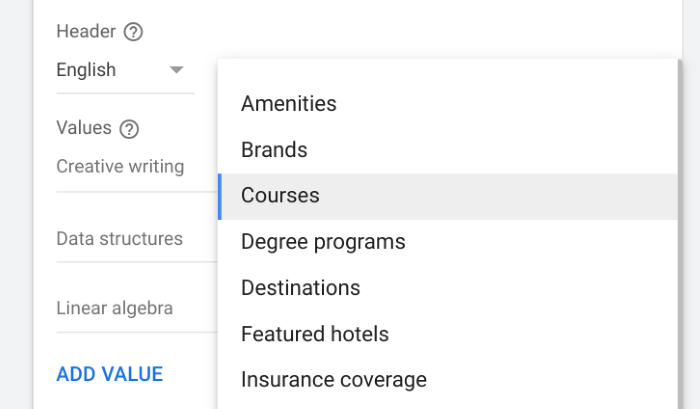 Example structured snippet extension