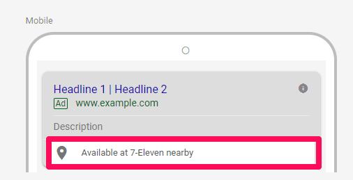 Example affiliate location extension