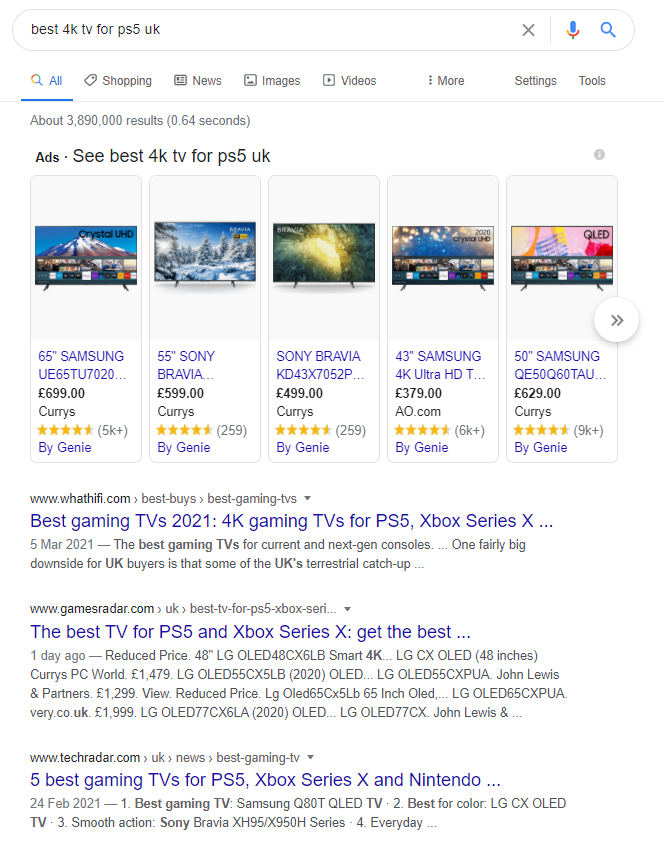search results for best 4k tv for ps5 UK