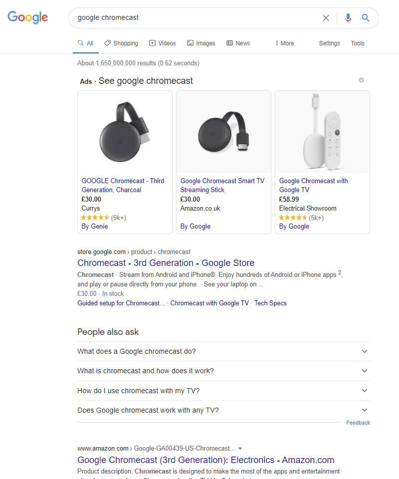 Search results for Google Chromecast